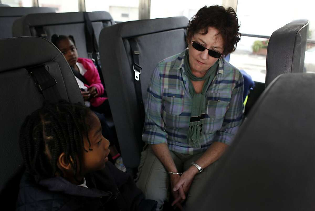 Barbara Donovan, who has been driving a school bus in San Francisco for 40 years, greets a young passenger ready to go home from school at Hillcrest Elementary on Wednesday May 25, 2011 in San Francisco, Calif.