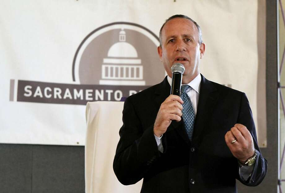 State Senate President Pro Tem Darrell Steinberg, D-Sacramento, responds to a question during his appearance before the Sacramento Press Club in Sacramento, Calif., Wednesday, April 27, 2011.  After speech, Steinberg told reporters that he is interested in a suggestion by Treasurer Bill Lockyer to reduce services in Republican districts if GOP lawmakers refuse to allow Californians to vote on tax extensions. Photo: Rich Pedroncelli, AP