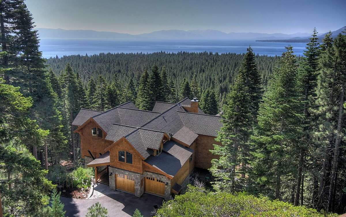 An aerial view of the getaway home in Lake Tahoe.