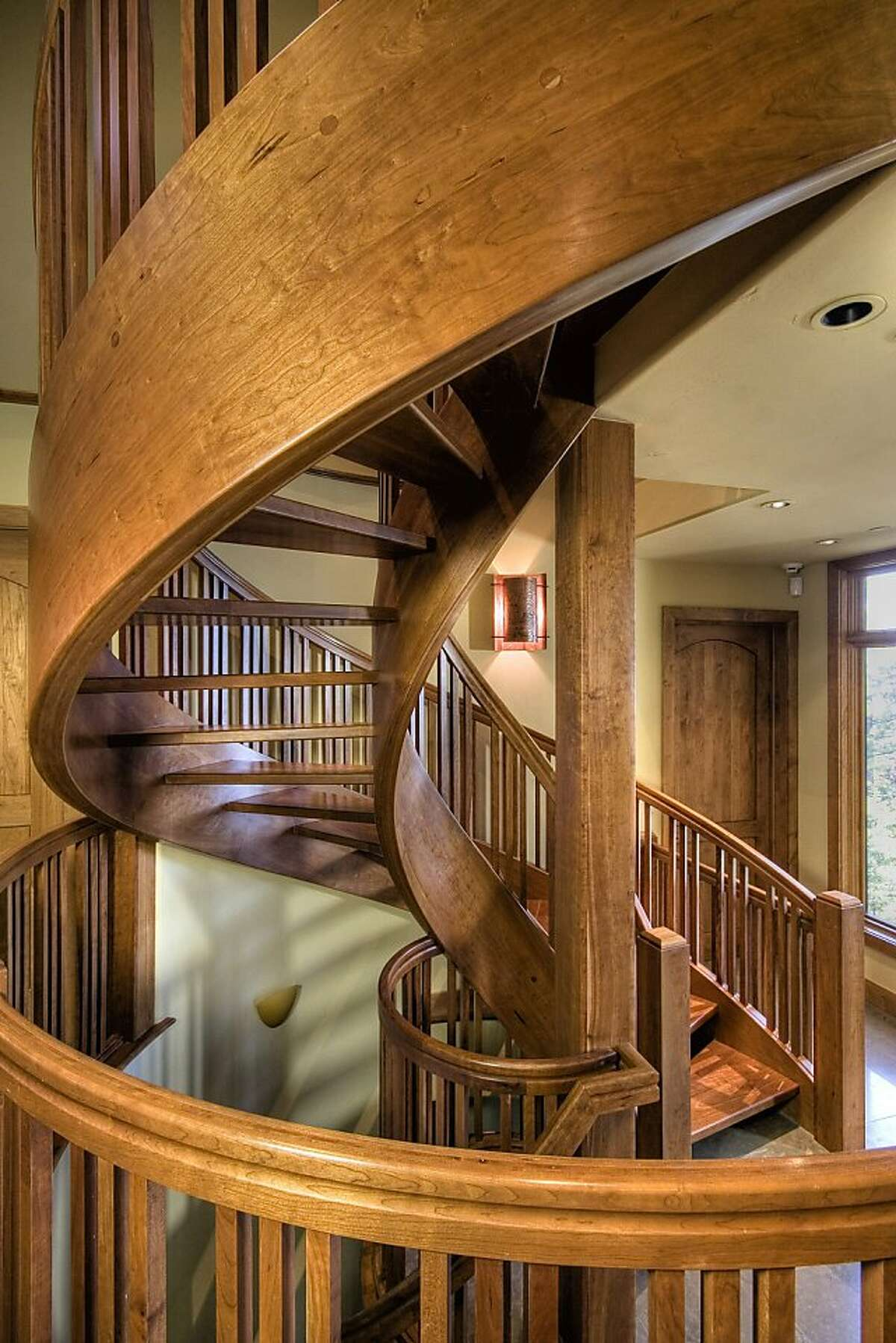 This is a detail shot of the stairs at the getaway home in Lake Tahoe.