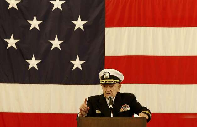 Chaplain John Berger, 91, a retired Navy veteran of World War II, talks to the crowd gathered on board the USS Hornet on Monday for Memorial Day in Alameda. Photo: Brant Ward, The Chronicle