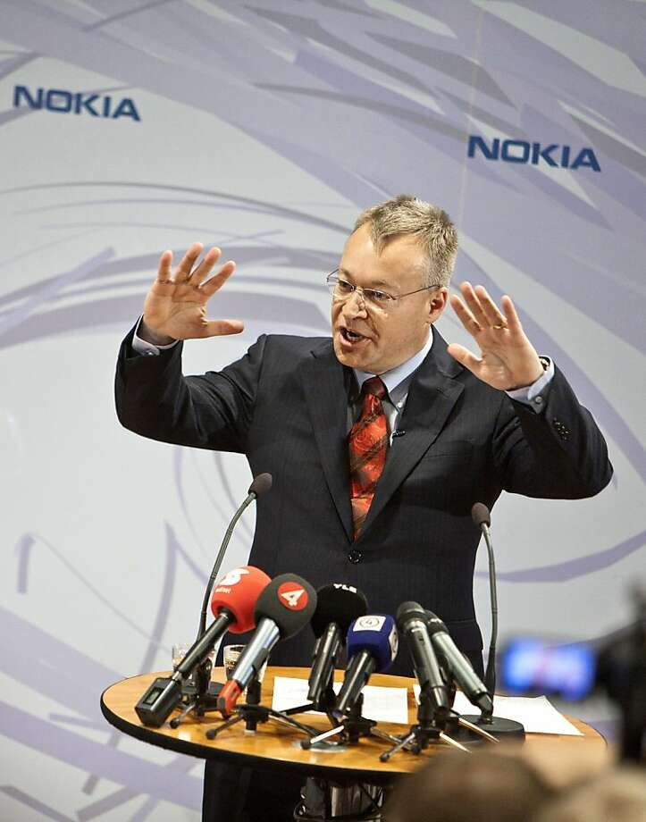 Stephen Elop, incoming chief executive officer of Nokia Oyj, speaks during a news conference at the company headquarters in Espoo, Finland, on Friday, Sept. 10, 2010. Nokia named Elop, head of Microsoft Corp.'s business unit, as chief executive officer after the world's largest mobile-phone maker's struggles to take on Apple Inc.'s iPhone wiped $61 billion off its market value. Photographer: Tomi Setala/Bloomberg *** Local Caption *** Stephen Elop Photo: Tomi Setala, Bloomberg