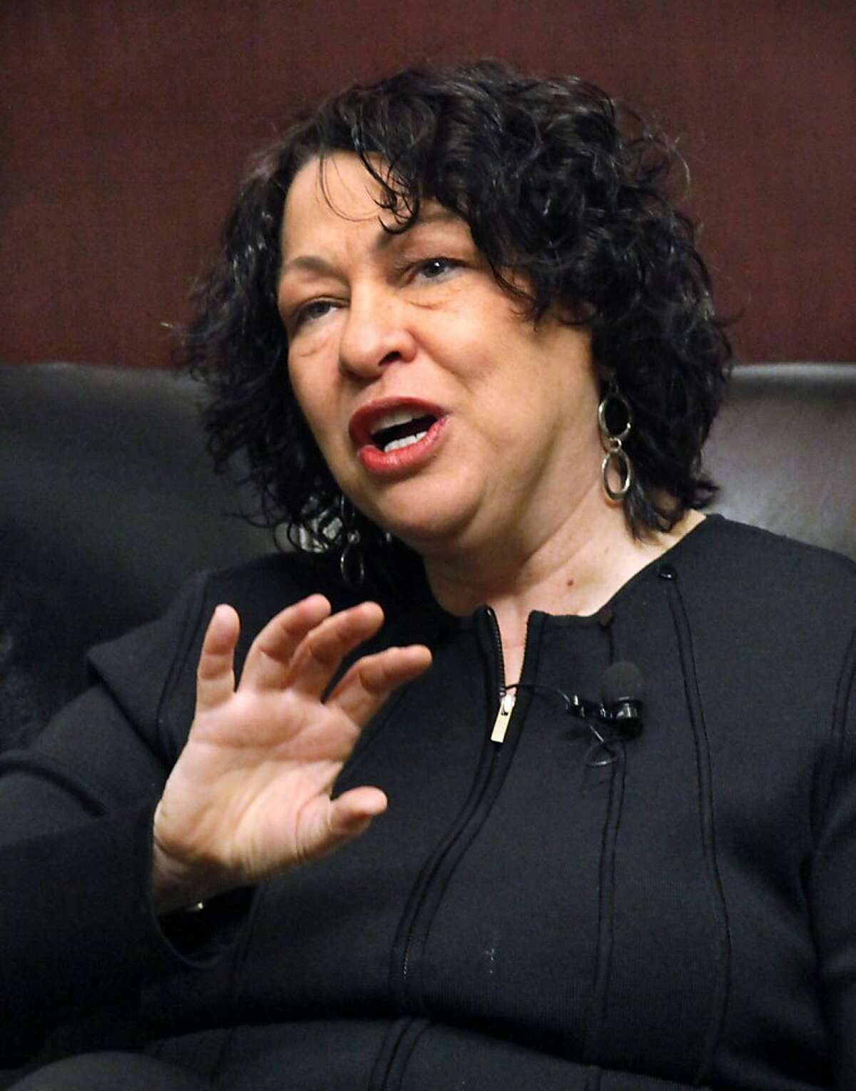 FILE - In this Jan. 31, 2011 file photo, Supreme Court Justice Sonia Sotomayor speaks at the University of Chicago Law School in Chicago. Sotomayor says she received nearly $1.2 million to write a memoir of her rise from a South Bronx housing project to the nation's highest court.
