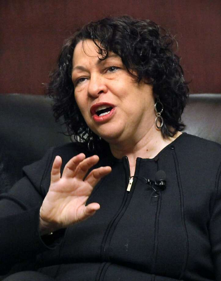 FILE - In this Jan. 31, 2011 file photo, Supreme Court Justice Sonia Sotomayor speaks at the University of Chicago Law School in Chicago. Sotomayor says she received nearly $1.2 million to write a memoir of her rise from a South Bronx housing project to the nation's highest court. Photo: Charles Rex Arbogast, AP