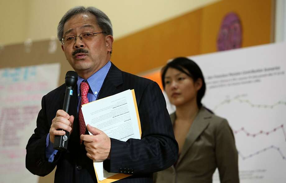 Mayor Ed Lee holding the first in a series of town hall city budget meetings at Tenderloin Community School, in San Francisco, Calif., with supervisor Jane Kim on Wednesday, March 16, 2011.  The city is facing a $380 million deficit. Photo: Liz Hafalia, The Chronicle
