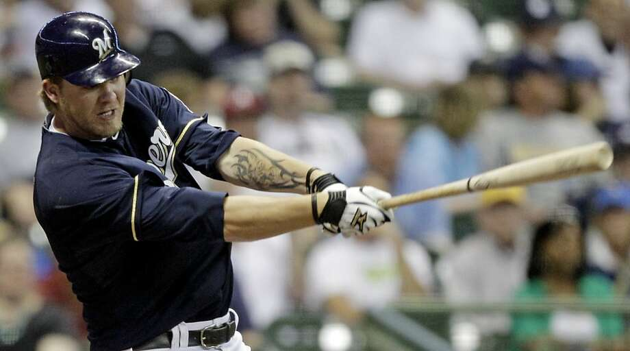 Milwaukee Brewers' Corey Hart hits a three-run home run during the eighth inning of a baseball game against the Washington Nationals Monday, May 23, 2011, in Milwaukee. The home run was Hart's third in the game. Photo: Morry Gash, AP