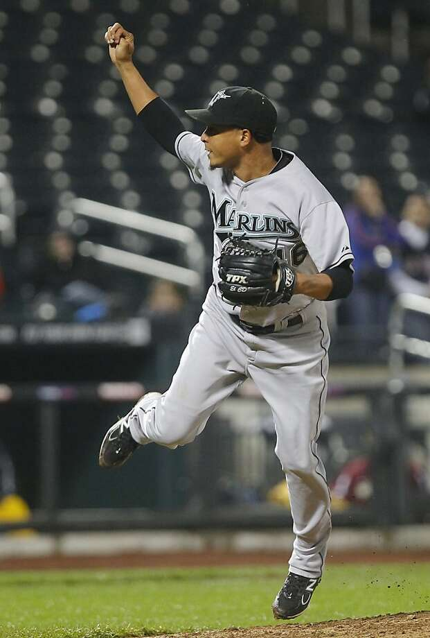 Florida Marlins reliever Leo Nunez throws a pitch against the New York Mets in the eleventh inning of a baseball game at Citi Field in New York on Monday, May 16, 2011. Marlins won 2-1. Photo: Paul J. Bereswill, AP