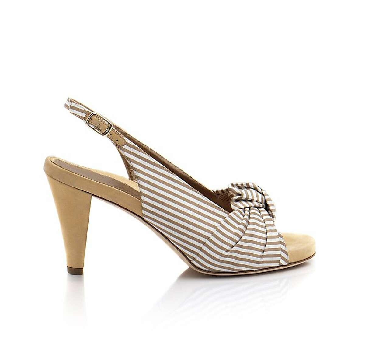 The Lavender pinstripe peep-toe ($375) from shoe designer Dana Davis comes in black or tan.