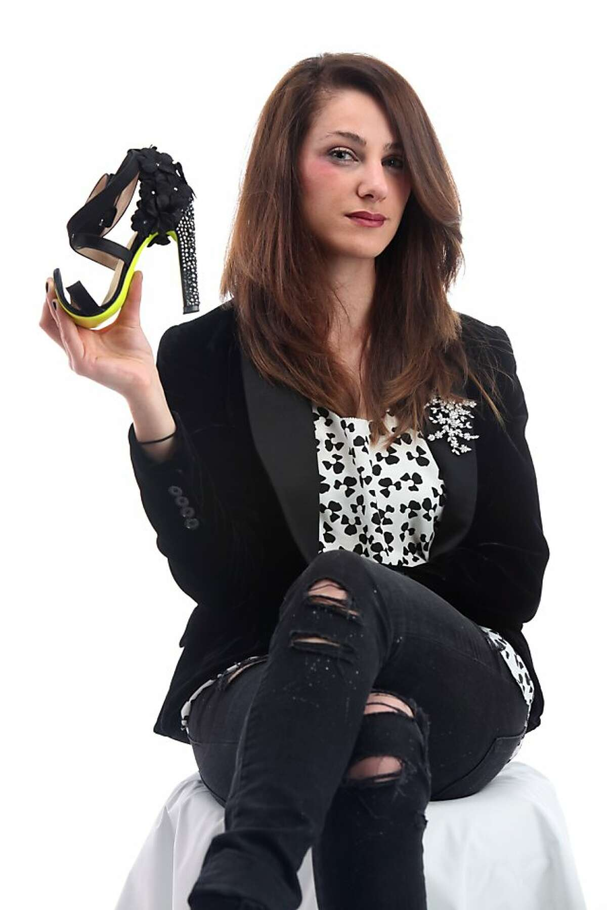 Shoe designer Sasha Igdari wears and shows the comfort flexibility of her four inch heels in San Francisco, Calif., on Thursday, May 19, 2011.