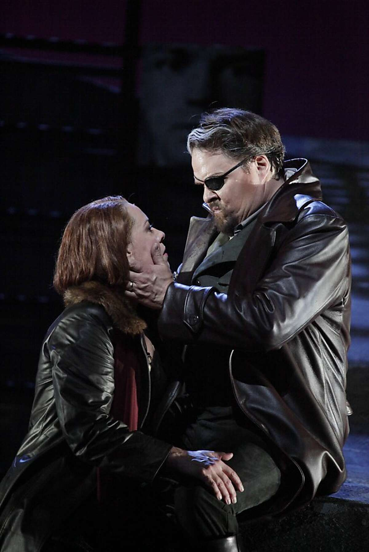 Nina Stemme as Brunnhilde (l to r) and Mark Delavan as Wotan are seen during a final dress rehearsal of Wagner's Die Walkure at the War Memorial Opera House in San Francisco, Calif. on Sunday June 6, 2010.
