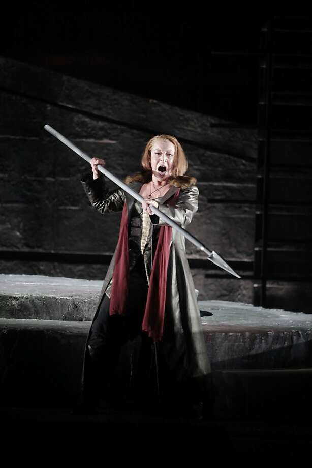 Nina Stemme as Brunnhilde performs during a final dress rehearsal of Wagner's Die Walkure at the War Memorial Opera House in San Francisco, Calif. on Sunday June 6, 2010. Photo: Lea Suzuki, The Chronicle