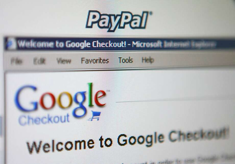 EBay's PayPal and Google Inc.'s Checkout are displayed on a computer screen in New York, on Friday, July 6, 2007. EBay Inc.'s Meg Whitman is doing what most Internet chiefs can only dream of: She's beating Google Inc. in at least one corner of the Web. Photographer: Andrew Harrer/Bloomberg News. Photo: Andrew Harrer, Bloomberg News