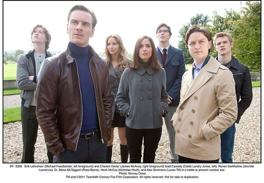 DF- 3306   Erik Lehnsherr (Michael Fassbender, left foreground) and Charles Xavier (James McAvoy, right foreground) lead Cassidy (Caleb Landry Jones, left), Raven Darkholme (Jennifer Lawrence), Dr. Moira McTaggert (Rose Byrne), Hank McCoy (Nicholas Hoult), and Alex Summers (Lucas Till) in a battle to prevent nuclear war. Photo: Photo: Murray Close
