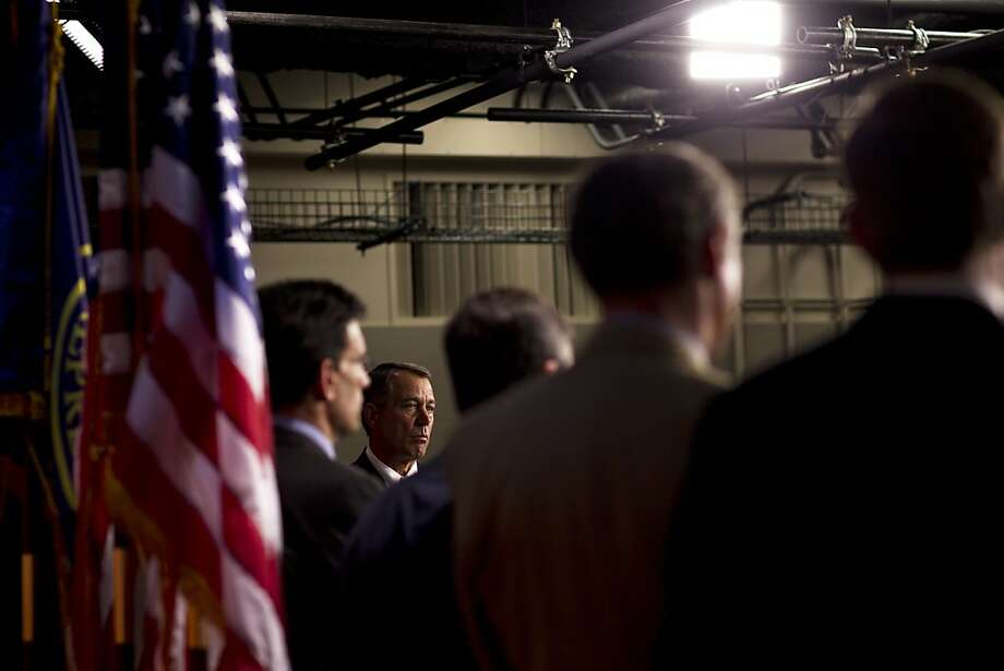 House Speaker John Boehner, R-Ohio, addresses the media with other Republican Congressmen in Washington. Boehner discussed their plan to stimulate job growth, which includes several previous proposals in a new package. Photo: Philip Scott Andrews, New York Times