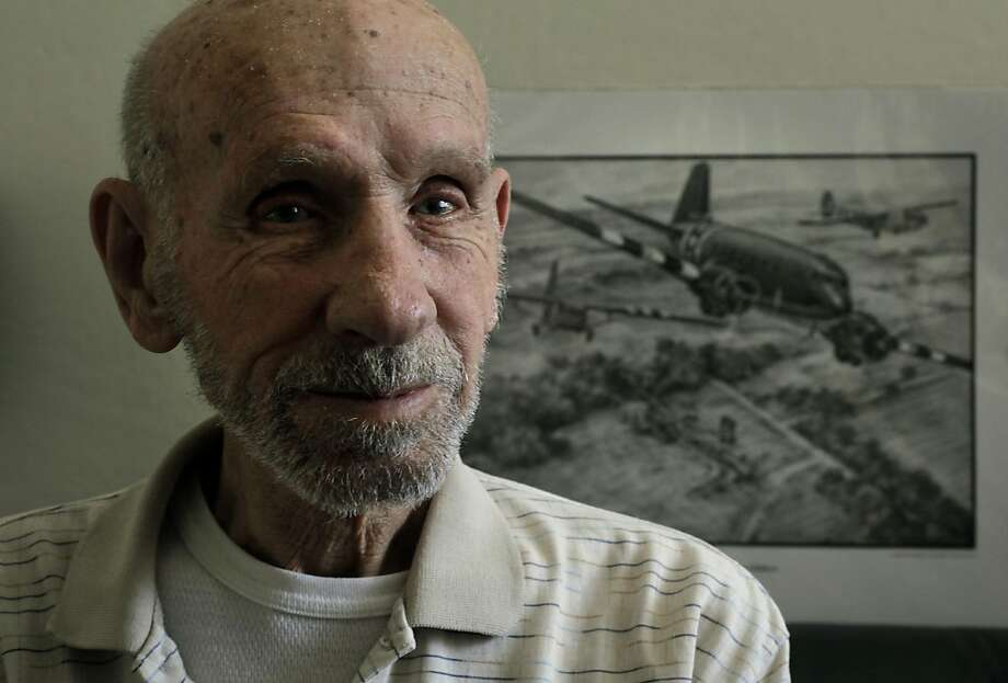 90-year-old Robert Vannatter, at his Pleasanton, Ca., home  on Thursday May 19, 2011, with a drawing of the type of aircraft he made many  parachute jumps from during missions over Europe. Vannatter is the recipient of the French Legion of Honor award for his role in the Normandy D-Day invasion during World War II. Photo: Michael Macor, The Chronicle