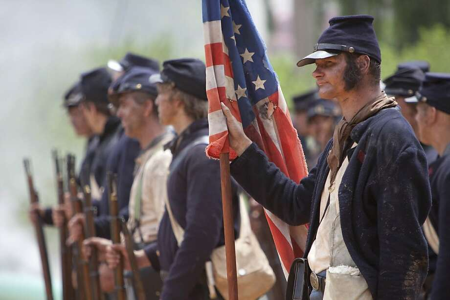 """Civil War troops are seen in a re-enactment in, """"Gettysburg,"""" that will air on the History Channel on Monday, May 31, 2011 during Civil War Week. Photo: Casey Crafford, Courtesy Of History Channel"""