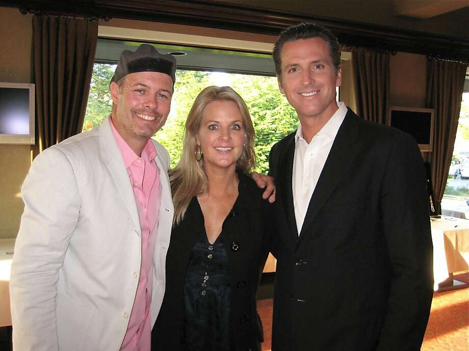 Geoff and Hilary Callan (at left) with her brother, Lt. Governor Gavin Newsom, at the PlumpJack Link Golf Tourney. May 2011. By Catherine Bigelow. Photo: Catherine Bigelow, Special To The Chronicle