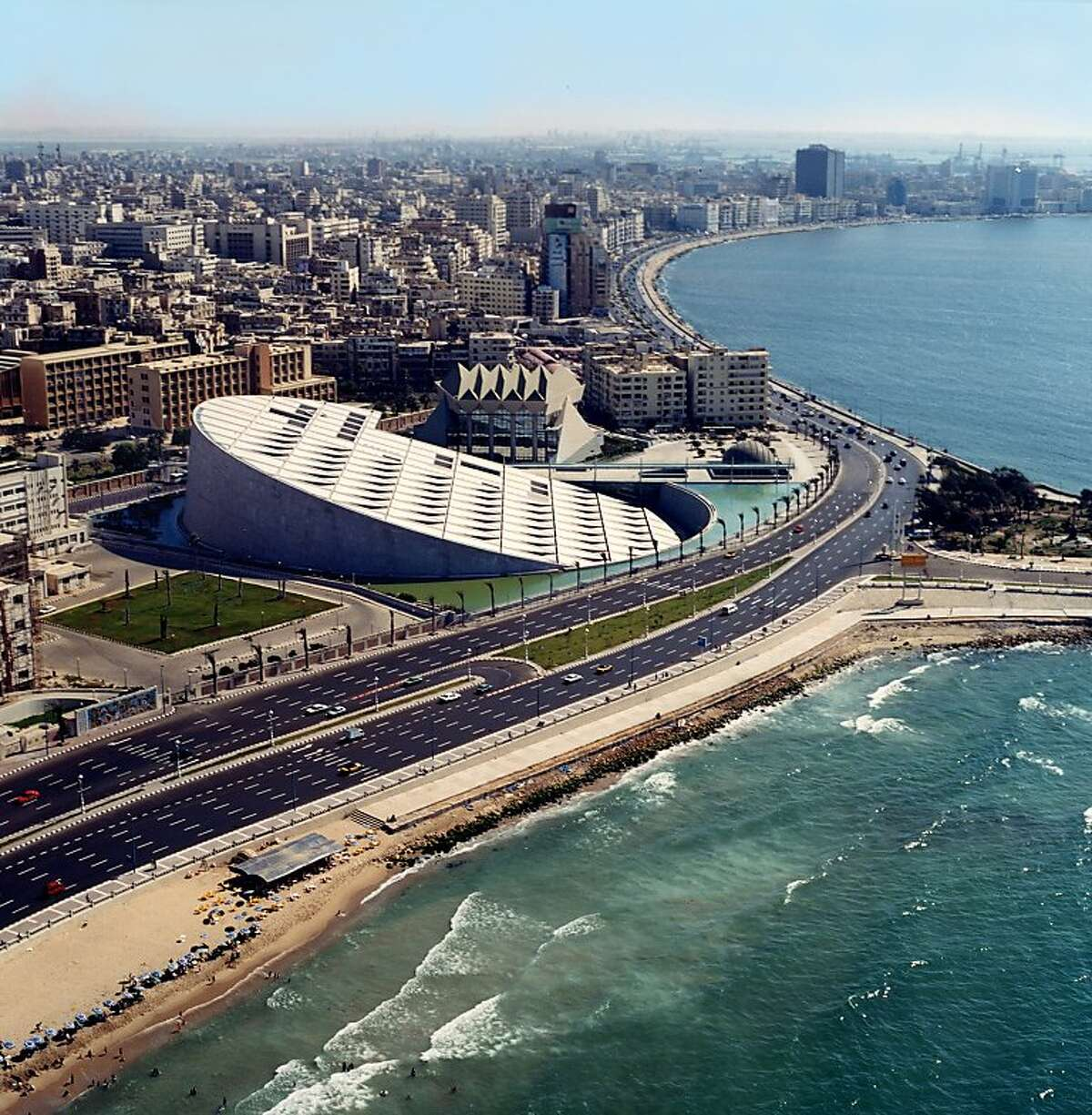 Bibliotheca Alexandrina in Alexandria, Egypt, which opened in 2001, was the first major project by Snohetta, the architecture firm selected to design the new wing of SFMOMA