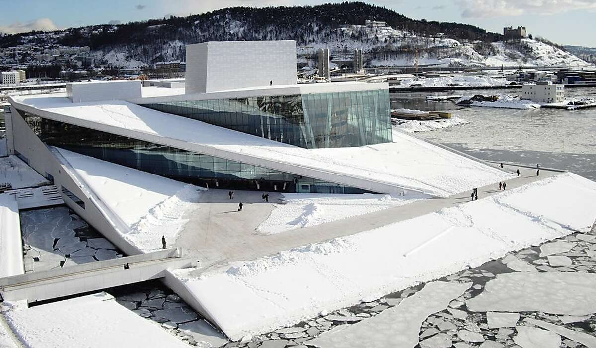 The National Opera and Ballet in Oslo, from 2007. The architect is Snohetta, the design firm selected to design the expansion of SFMOMA