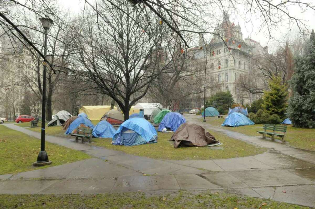 The Occupy Albany encampment has been cleaned up and a number of tents taken down, seen here on Wednesday, Dec. 7, 2011 in Albany, NY. (Paul Buckowski / Times Union)
