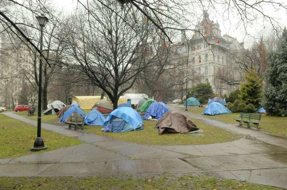 The Occupy Albany encampment has been cleaned up and a number of tents taken down, seen here on Wednesday, Dec. 7, 2011 in Albany, NY.    (Paul Buckowski / Times Union) Photo: Paul Buckowski / 10015699A