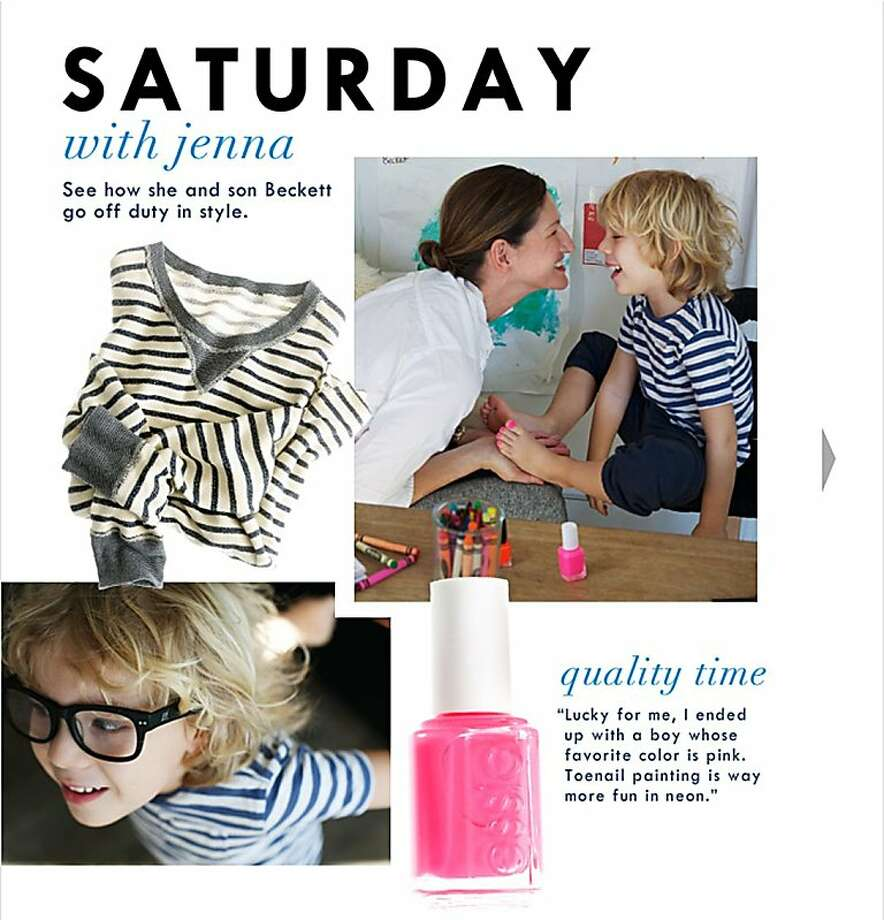 ** ADVANCE FOR USE SUNDAY, MAY 8, 2011 AND THEREAFTER ** This image made from the J. Crew website shows a page with a photograph of Jenna Lyons, creative director for the company, with her son Beckett, 5, wearing pink nail polish on his toes. In March 2011, J. Crew unleashed a furor with this promotion. Gender stereotypes for America's children are less rigid than in the past, but they remain a pervasive part of popular culture and a benchmark for parents. Moreover, the changes in recent decades have beenmore dramatic for girls than boys. Photo: J. Crew, Associated Press
