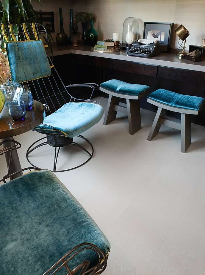 A room designed by Kendall Wilkinson using leather flooring tiles. Photo: Courtesy Kendall Wilkinson