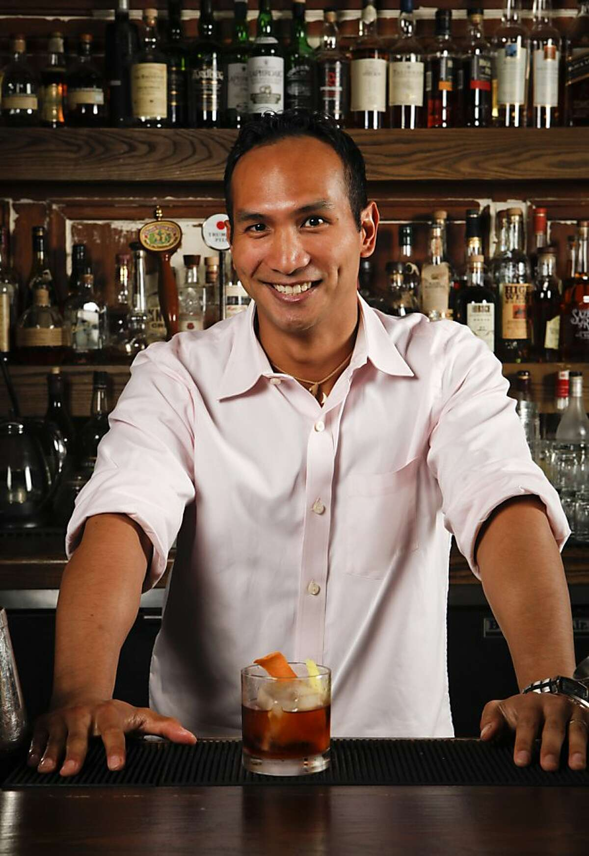 Chronicle Bar Star, Kevin Dietrich of Burritt Room, mixes a Kentucky Stinger at Burritt Room in San Francisco, Calif., on Tuesday, May 10, 2011.