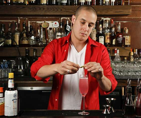 "Chronicle Bar Star, Jason ""Buffalo"" Lo Grasso of Cotogna and Quince,  mixes ""The Beauregarde"" at Burritt Room in San Francisco, Calif., on Tuesday, May 10, 2011. Photo: Russell Yip, The Chronicle"