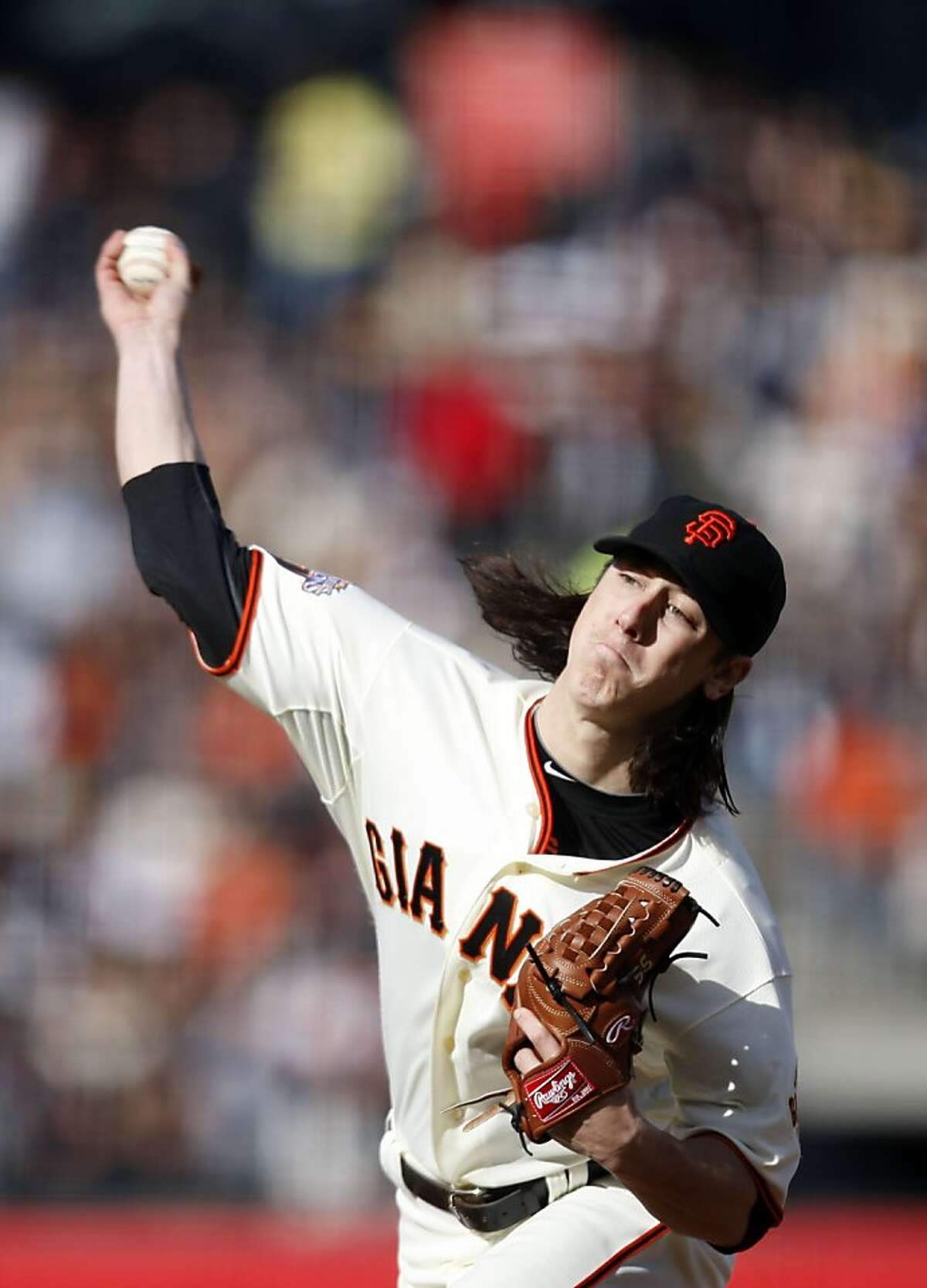 San Francisco Giants' Tim Lincecum pitches as the San Francisco Giants take on the Oakland Athletics at AT&T Park in San Francisco, Calif., on Saturday, May 21, 2011.