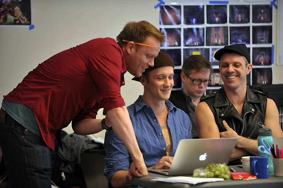 "From left: Jason Moore, director; Jeff Whitty, librettist; and John Garden and Jake Shears, composers, of ""Tales of the City"" at the American Conservatory Theater in an undated handout photo.  Tales is a collection of quintessential stories of San Francisco in the 1970s. (David Allen Studio via The New York Times) -- MAGS OUT/NO SALES; FOR EDITORIAL USE ONLY WITH STORY SLUGGED THEATER-TALES-ADV08 BY JESSE McKINLEY. ALL OTHER USE PROHIBITED. -- PHOTO MOVED IN ADVANCE AND NOT FOR USE - ONLINE OR IN PRINT - BEFORE MAY 8, 2011. -- Photo: David Allen Studio, NYT"