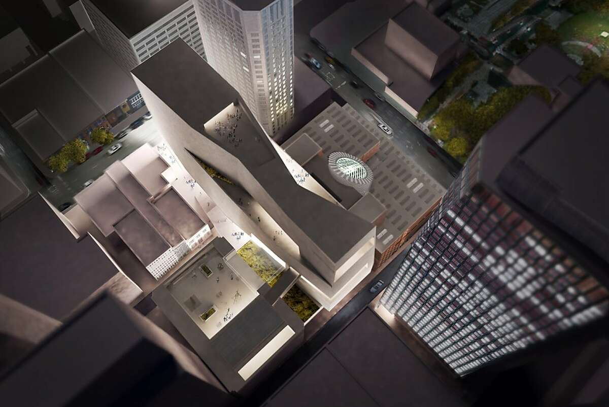 An aerial view of the model of the design concept for the proposed expansion of SFMOMA, which would rise to the east of the institution's current home.