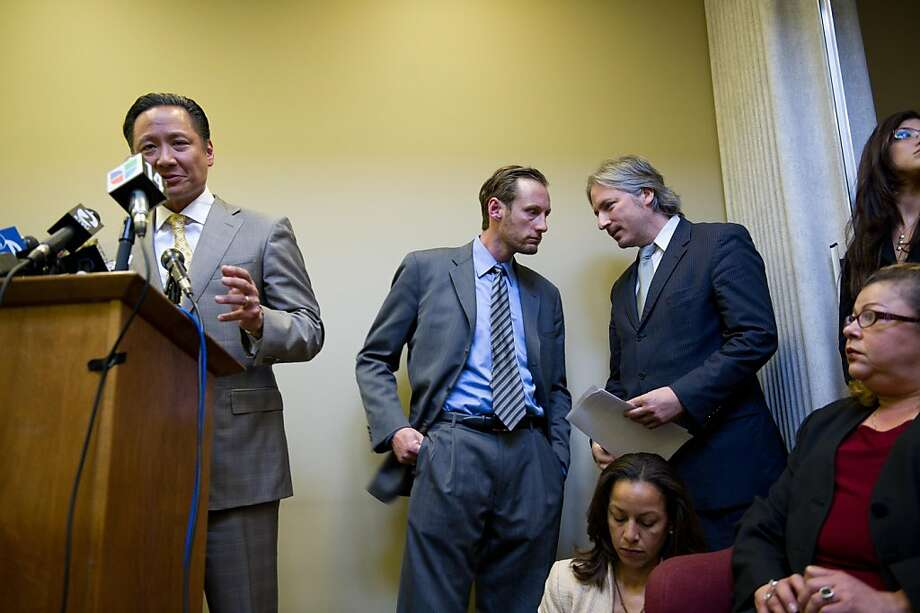 San Francisco Public Defender Jeff Adachi (L) speaks during a press conference as Seth Meisels and Matt Gonzales confer at the Public Defenders office in San Francisco, Calif.   Photograph by David Paul Morris/Special to the Chronicle Photo: David Paul Morris, Special To The Chronicle