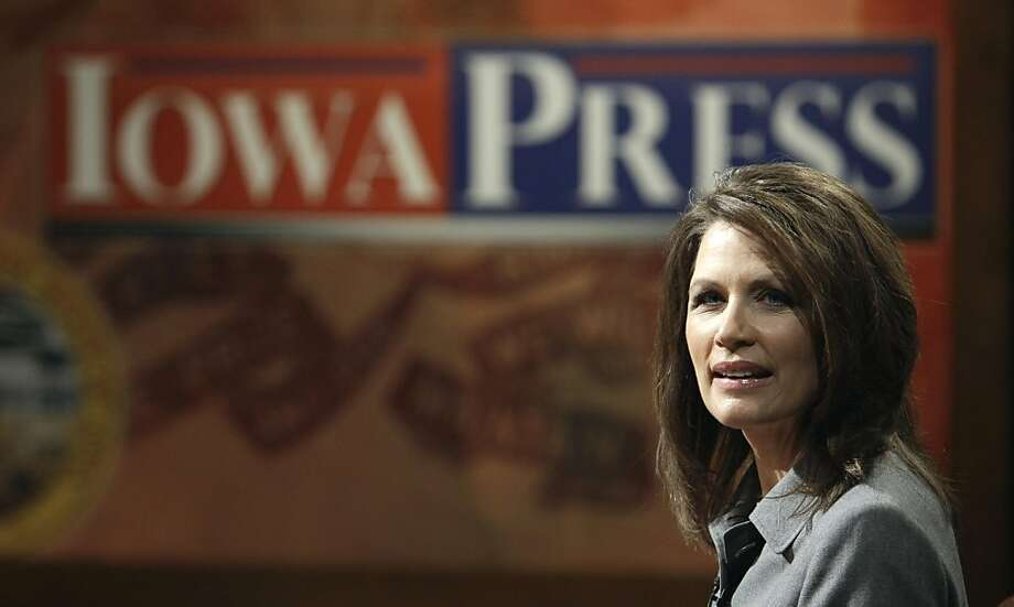 Rep. Michele Bachmann, R-Minn., is seen on the set before the taping of Iowa Public Television's Iowa Press, Friday, May 27, 2011, in Johnston, Iowa. The three-term congresswoman will announce her 2012 plans as soon as next week, and advisers describe heras inclined to get into the race for the Republican presidential nomination. Photo: Charlie Neibergall, AP