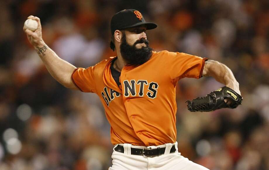 Brian Wilson takes to the mound in the bottom of the ninth inning as the San Francisco Giants play the Oakland  Athletics at AT&T Park in San Francisco Calif, on Friday, May 20, 2011. Photo: Alex Washburn, The Chronicle