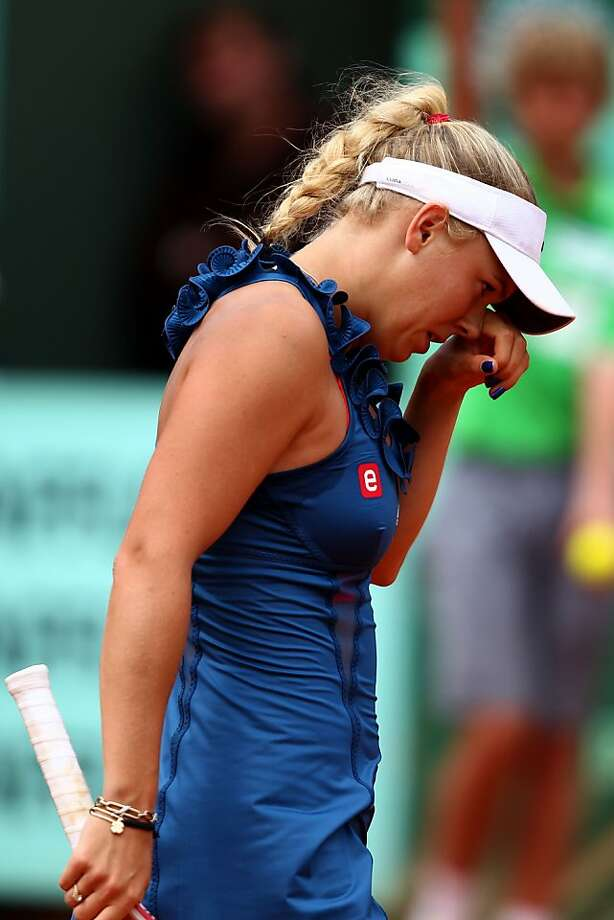 PARIS, FRANCE - MAY 27:  Caroline Wozniacki of Denmark shows her dejection during the women's singles round three match between Caroline Wozniacki of Denmark and Daniela Hantuchova of Slovakia on day six of the French Open at Roland Garros on May 27, 2011in Paris, France. Photo: Clive Brunskill, Getty Images