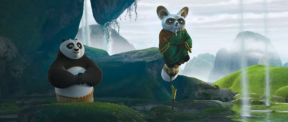 Shifu (Dustin Hoffman, right) teaches Po (Jack Black, left) the value of inner peace in DreamWorks Animation's KUNG FU PANDA 2 to be released by Paramount on Thursday, May 26, 2011. Photo: Courtesy Of DreamWorks Animation