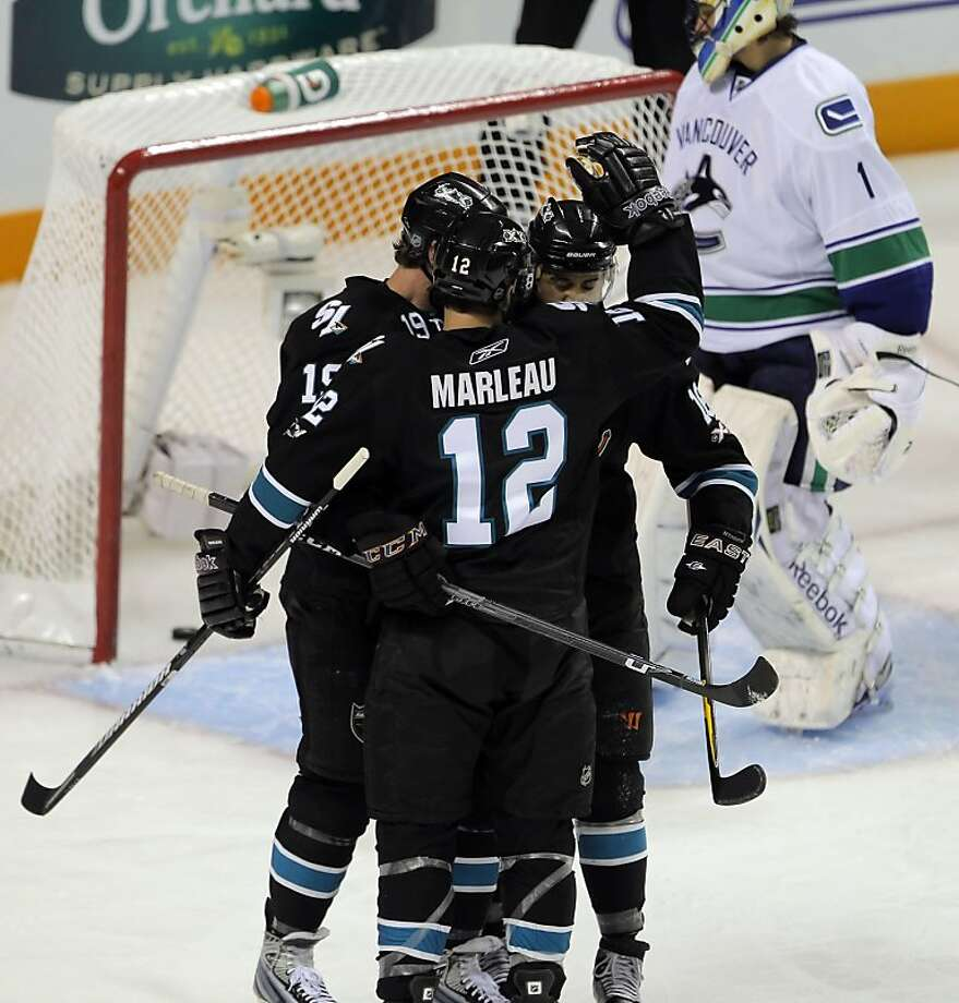 The San Jose Sharks celebrate Patrick Marleau's goal in the first period against the Vancouver Canucks in Game 3 of the Western Conference Finals at HP Pavilion in San Jose on Friday. Photo: Carlos Avila Gonzalez, The Chronicle