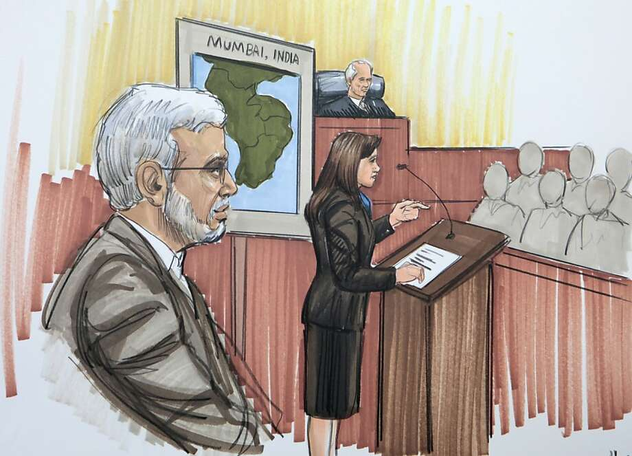 In this courtroom sketch, Chicago businessman Tahawwur Rana is shown in federal court as the prosecutor makes an opening argument Monday, May 23, 2011, in Chicago. Rana, 50, is accused in the 2008 Mumbai rampage that left more than 160 people dead, and for planning an attack that was never carried out on a Danish newspaper. He pleaded not guilty to the charges, including material support to terrorism. Photo: Tom Gianni, AP