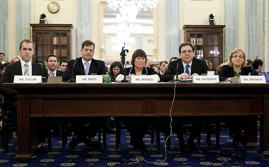 Bret Taylor, chief technology officer of Facebook Inc., from left, Morgan Reed, executive director of the Association for Competitive Technology, Catherine Novelli, vice president for worldwide government affairs for Apple Inc., Alan Davidson, director of public policy at Google Inc., and Amy Guggenheim Shenkan, president and chief operating officer of Common Sense Media Inc., testify at a Senate Commerce Committee panel hearing on mobile privacy in Washington, D.C., U.S., on Thursday, May 19, 2011. U.S. lawmakers, considering legislation aimed at protecting consumers' online privacy, said the market for smartphone applications needs to be regulated to prevent the inappropriate sharing of user data. Photographer: Joshua Roberts/Bloomberg *** Local Caption *** Bret Taylor;  Morgan Reed; Catherine Novelli; Alan Davidson; Amy Guggenheim Shenkan Photo: Joshua Roberts, Bloomberg