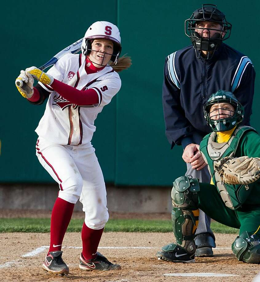 Stanford softball player Ashley Jensen watches a home run head out of the park at Stanford in a victory over North Dakota State on Feb. 25, 2011. Photo: Rick Bale, Stanfordphoto.com