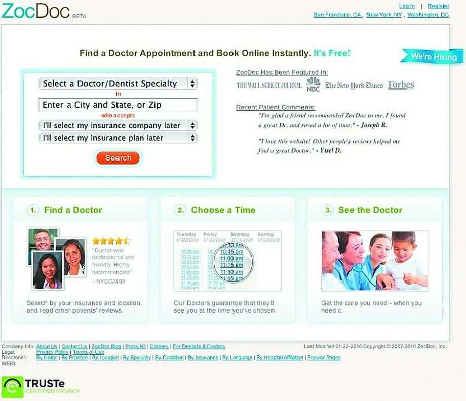 ZocDoc.com, a site for making medical appointments. Photo: ZocDoc.com