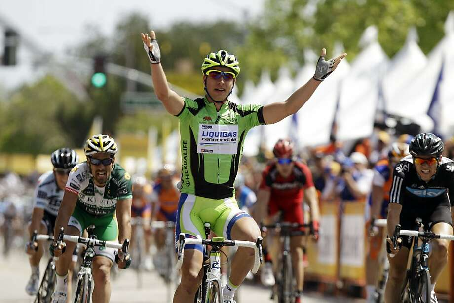 Peter Sagan, of Slovakia, celebrates as he wins Stage 5 of the Tour of California cycling race  in downtown Paso Robles, Calif. on Thursday, May 19, 2011. Photo: Marcio Jose Sanchez, AP