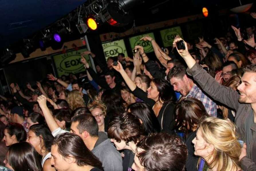 The crowd at Jillian's on November 2011 for the Naked and Famous concert with Around the World and B