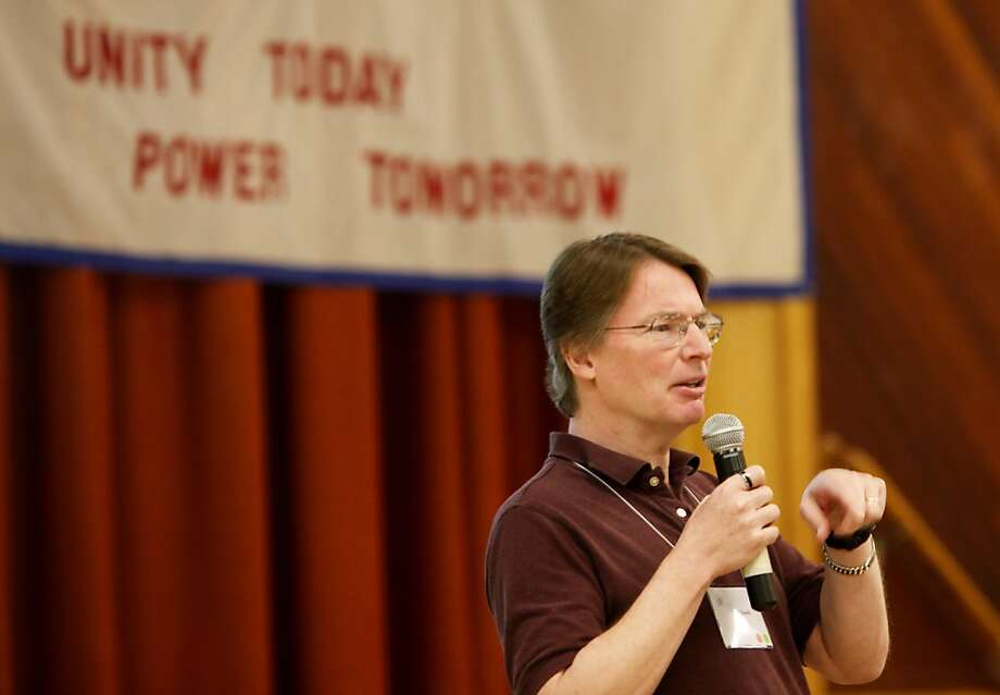 David Eller spoke to the meeting about building an atheist culture and also about the rapture event that never happened. The American Atheists' West Coast Regional meeting Sunday May 22, 2011, one day after the alleged rapture didn't come true, was held in Oakland, Calif. Photo: Brant Ward, The Chronicle