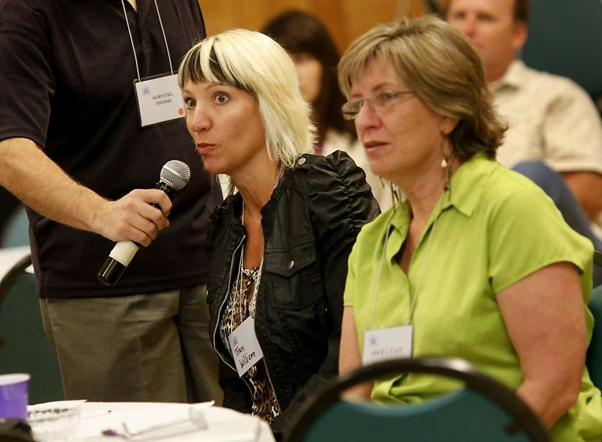 Tracy Williams of Vallejo had a suggestion about contraception for one of the morning speakers. The American Atheists' West Coast Regional meeting Sunday May 22, 2011, one day after the alleged rapture didn't come true, was held in Oakland, Calif.