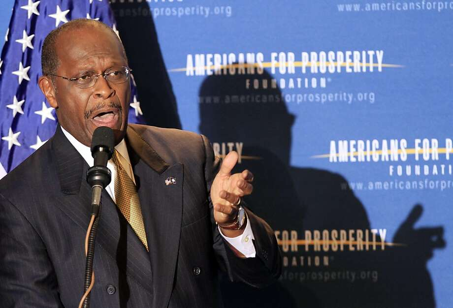 FILE - In this April 29, 2011, file photo possible 2012 presidential hopeful, Republican businessman Herman Cain, speaks during a dinner sponsored by Americans for Prosperity in Manchester, N.H. Cain has run a pizza chain, hosted a talk radio show and sparred with Bill Clinton over health care. He's never held elected office. Now the tea party favorite wants to be president. Photo: Jim Cole, Associated Press