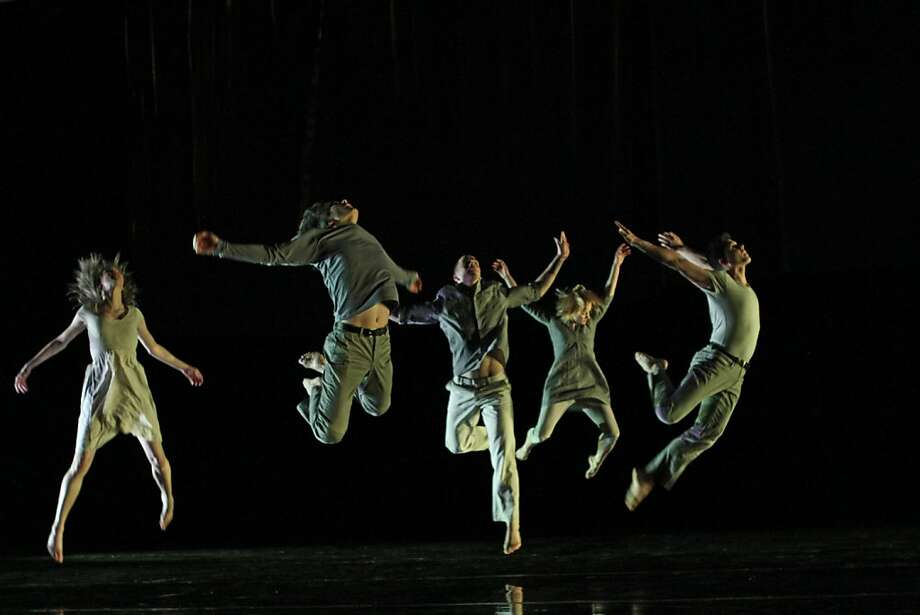 Photo credit: Julie Lemberger  (L to R) Erin Owen, Eddie Taketa, Ryan Corriston, Natalie Desch and Alex Springer of Doug Varone and Dancers in Chapters From a Broken Novel. Photo:  Julie Lemberger