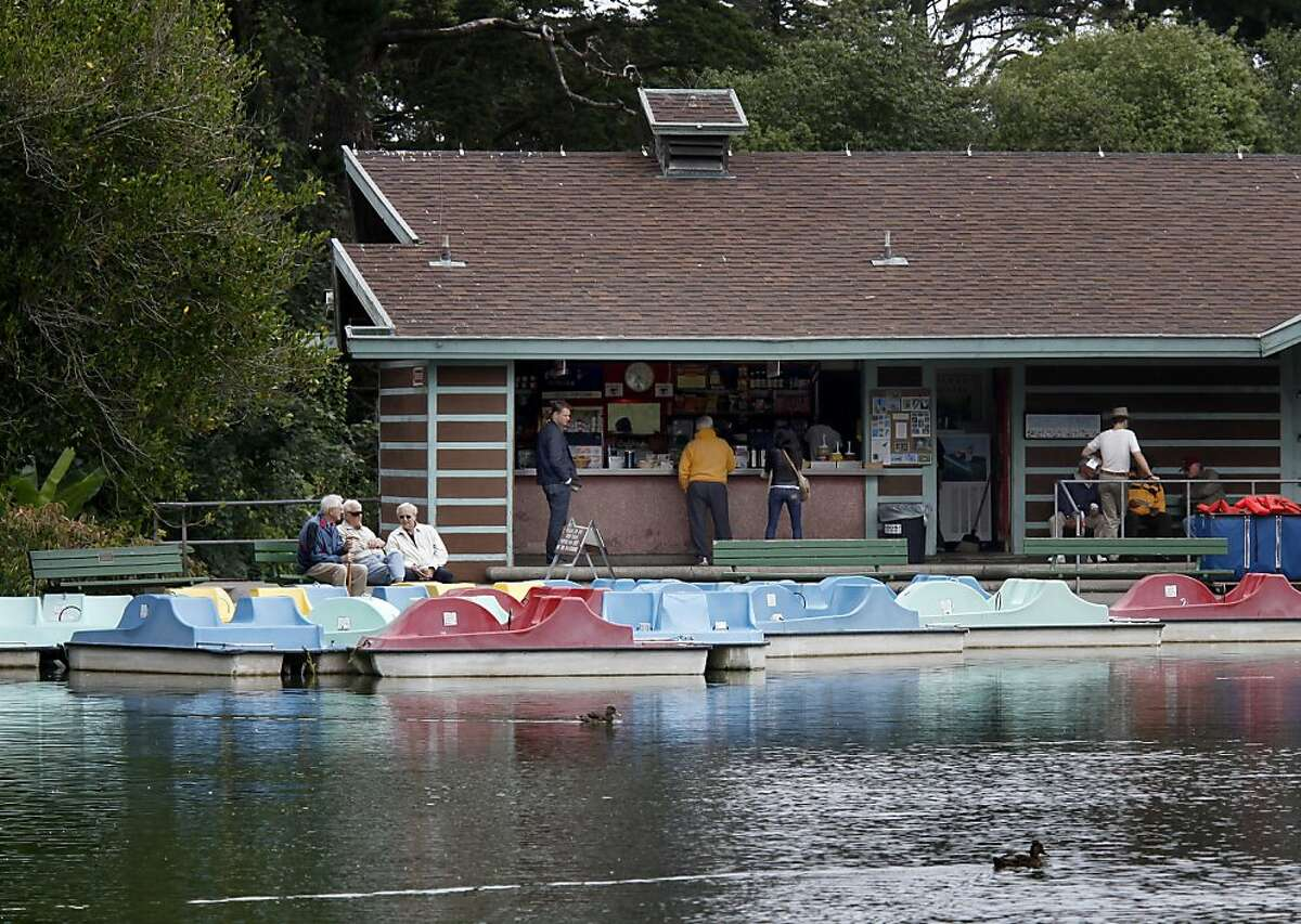 The boathouse at Stow Lake with concession stand on left and rental area in the front on the banks of Stow Lake Thursday July 22, 2010. The Recreation and Parks Department of San Francisco, Calif. has been looking for a new vendor to take over concessions at the Stow Lake boat house.