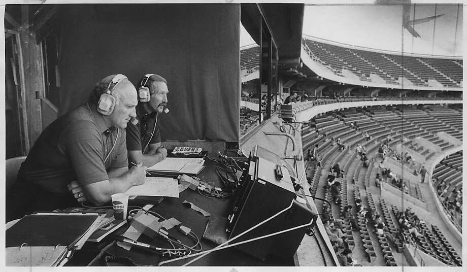 Harmon Killebrew (left) and Wayne Walker calling an A's game at the Oakland Coliseum on July 13, 1979.  Photo was taken: 7/13/79. Photo: Vici MacDonald, The Chronicle